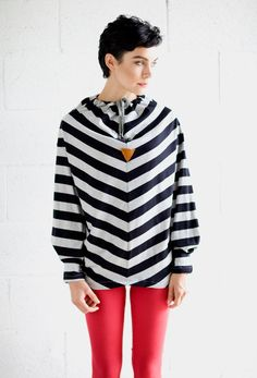 Jumpers & Sweatshirts – Oversized boyfriend sweatshirt in stripes tying – a unique product by jenfashion on DaWanda