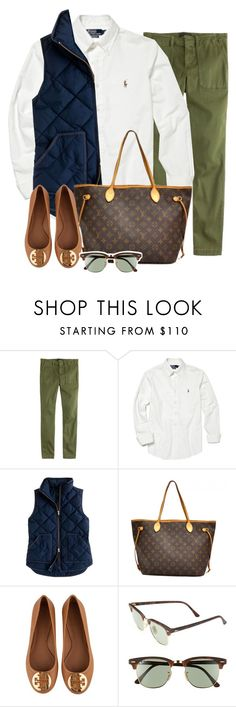 """Touring Colleges in today's 60 degree weather"" by prep-eq ❤ liked on Polyvore featuring J.Crew, Polo Ralph Lauren, Louis Vuitton, Tory Burch, Ray-Ban, women's clothing, women, female, woman and misses"