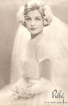 1958 Bride - this headpiece is amazing