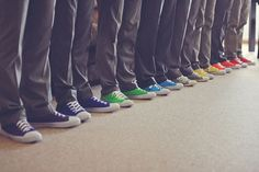 Rainbow Converse for the groom and his best