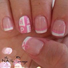 Hope, breast cancer awareness gel nail art
