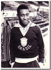 Pelé was born in Três Corações, Brazil. His father was a Fluminense      footballer named Dondinho. Growing up in poverty stricken Bauru, São Paulo,       Pelé could not afford a proper football and usually played with a sock stuffed       with newspaper or a grapefruit. In 1956, Pelé was taken to Santos, an       industrial and port city in the state of São Paulo, to try out for professional       club Santos Futebol Clube. He made his debut for Santos on September 7,       1956.