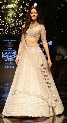 Ananya Panday displays a gorgeous designer lehenga at one of the LFW 2019 events. Indian Fashion Dresses, Indian Gowns Dresses, Dress Indian Style, Indian Designer Outfits, Bridal Dresses, Indian Wedding Gowns, Indian Bridal Outfits, Indian Bridal Fashion, Indian Lehenga