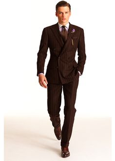 Brown pinstripe suit, Green tie, Pink pocket square, & Duffle bag ...