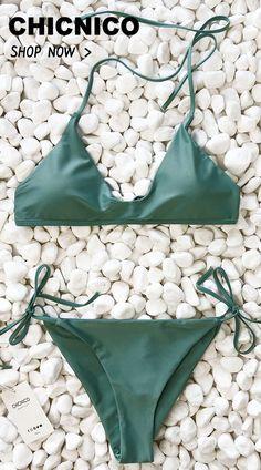78f11c6a60733 Swim · 27.99 Chicnico Summer Walk Solid Bikini Set My Wardrobe
