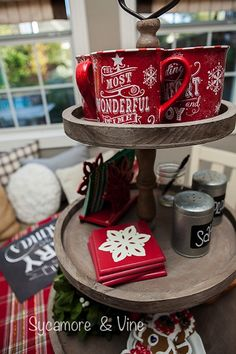 Stunning Christmas Home Tour! This Plaid Country Christmas tour features several rooms and a hot cocoa bar. Cabin Christmas, Christmas Time Is Here, Christmas Kitchen, Plaid Christmas, Country Christmas, Christmas 2017, Winter Christmas, All Things Christmas, Christmas Coffee