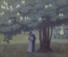 Ludovic Alleaume (1859-1941)  Under the chestnut tree, oil on canvas 46.0 x 55.0 cm., signed l.l. Collection Simonis & Buunk, The Netherlands.