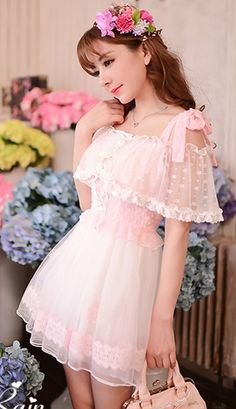 cea890134a5 Adorable Japanese strapless pink lace shawl chiffon dress