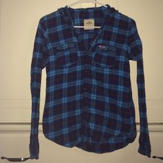 flannel shirt blue flannel from hollister size xs super cute no flaws Hollister Tops Button Down Shirts