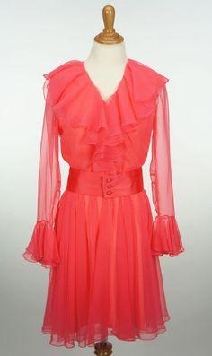 Vintage 1960s Coral Long Sleeve Sheer Lilli Diamond of California Dress Size S #LilliDiamondofCalifornia