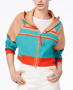 Free People Stripes For Days Zip-Up Hooded Sweater - Multi XS