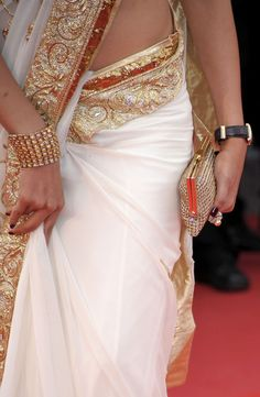 My Saree Wardrobe - gorgeous gold and white