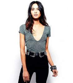 Free People Deep V Rib Tee