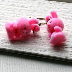 flocked bunny earrings.