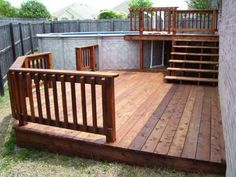 Good deck for above ground pool. This would really work going from our back door to the pool! Swimming Pool Decks, My Pool, Pool Fun, Cool Deck, Diy Deck, Above Ground Pool Decks, In Ground Pools, Backyard Patio, Outdoor Pool