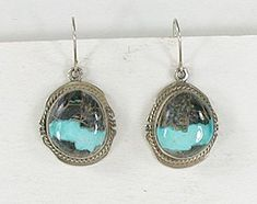 Authentic Native American sterling silver and Ribbon Turquoise wire earrings by Navajo artist Kathy Yazzie