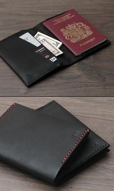 Items similar to Leather Passport Cover / Passport Wallet Holder Case , Personalized , Handmade Hand-stitched, Black on Etsy Leather Wallet Pattern, Leather Passport Wallet, Passport Cover, Leather Projects, Leather Craft, Handmade Leather, Leather Design, Leather Working, Card Wallet