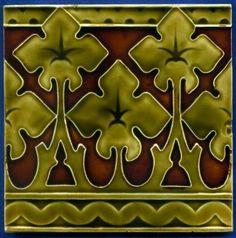 Jugendstil Fliese Kachel, Art Nouveau Tile, Tegel, Villeroy & Boch, Kresse Cress