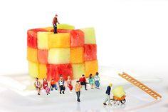 Watching Fruit Construction Little People On Food, creative photography, amazing food art, miniature art, home decor idea, original design