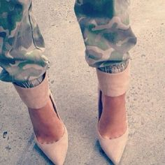 Nude pumps with a thick strap