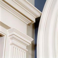 View the portfolio of architect Ken Tate Architect in Covington, Louisiana House Front Design, Door Design, Exterior Design, Cornice Design, Pillar Design, Interior Columns, Moldings And Trim, Cornice Moulding, Plafond Design