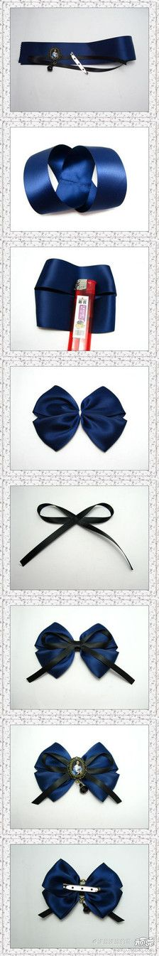 This Pin was discovered by Flo - Dentelle diy couture Ribbon Hair Bows, Diy Hair Bows, Diy Bow, Diy Ribbon, Ribbon Crafts, Ribbon Bow Tutorial, Barrettes, Hairbows, Diy Couture