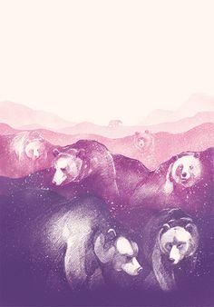 Wild Mountains Wall Tapestry by fromdan Ink Illustrations, Illustration Art, Bear Drawing, Karten Diy, Art Addiction, Mountain Art, Pattern Wallpaper, Art Projects, Project Ideas