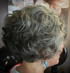 Short Curly Salt And Pepper Hairstyle
