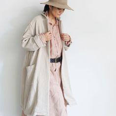 ichiAntiquités 700330 Merino Wool ORIHIMEDAKI Coat / A : NATURAL