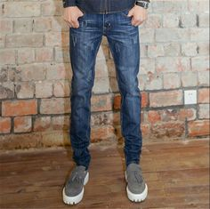 59.00$  Watch now - http://aligf2.worldwells.pw/go.php?t=32537632830 - fashion Men's Jeans long Trouser Straight Leg Leisure Casual pants 2015 New Mid Waist Straight denim Jeans Plus Size 28-36