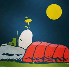 Snoopy Sleeps while Woodstock Keeps Watch at Camp Peanuts Cartoon, Peanuts Snoopy, Snoopy Beagle, Camp Snoopy, Beagle Funny, Good Night My Friend, Snoopy Quotes, Peanuts Quotes, Charlie Brown And Snoopy