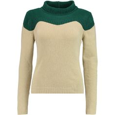 J.W.Anderson Two-tone ribbed-knit sweater (€160) ❤ liked on Polyvore featuring tops, sweaters, cream, chunky knit sweater, ribbed knit sweater, cream chunky knit sweater, brown sweater and thick knit sweater