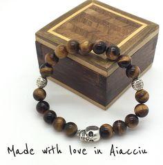bracelet homme perles OEIL DE TIGRE 8 ou 10 mm QUALITÉ supérieure : Bijoux pour hommes par made-with-love-in-aiacciu