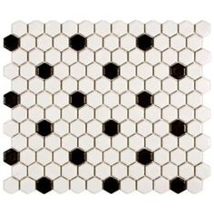Somertile Victorian Hex Matte White With Black Dot Porcelain Mosaic Tiles (Pack of - Overstock™ Shopping - Big Discounts on Somertile Wall Tiles - for sq ft