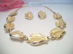 vintage leaf necklace   earring set made in West Germany  yellow leaf necklace set