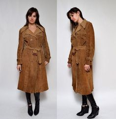 Vintage 70's Suede Leather Brown Long Coat by BlackPaganVintage
