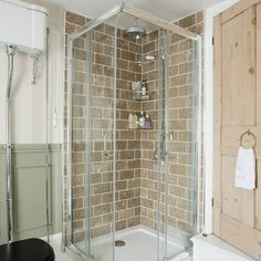 Ooh I like this brick tiled shower room. Rustic, calming. Would make a lovely outdoorsy feel shower room with some nice leafy plants along the windowsill