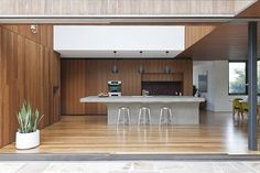 timber kitchen with polished concrete bench