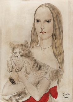 Girl with Cat | Léonard (Tsuguharu) Foujita
