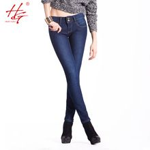 HG#H03 2015 winter stretch  jeans velvet for womenmid waist thickening denim pants deep blue tight legs slim jeans for girls new(China (Mainland))