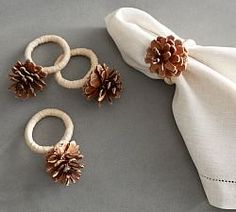 Pinecone Napkin Ring, Set of 4 Bring a natural woodsy accent to the table. Crafted with a tiny natural pinecone, each of these napkin rings is slightly different. Christmas Napkin Rings, Christmas Napkins, Christmas Tablescapes, Christmas Tree Decorations, Christmas Crafts, Table Decorations, Rustic Christmas, Decoracion Navidad Diy, Diy Rings