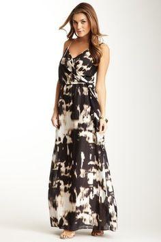 Sleeveless V-Neck Print Maxi Dress