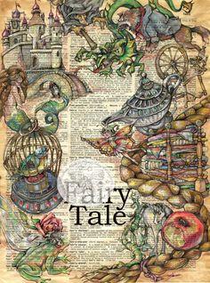 PRINT: Large Fairy Tale Mixed Media Drawing on Antique Dictionary - art Journal D'art, Art Journals, Bible Journal, Book Page Art, Book Art, Image Pinterest, Art Altéré, Art Doodle, Tableaux Vivants
