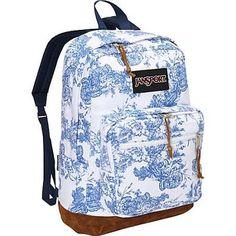 JanSport Right Pack Laptop Backpack - White / Blue Wash Vintage Floral Canvas - Expressi - Laptop Backpacks