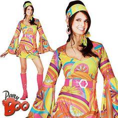 0114b1c299b 1960s Hippy UK 10-12 Ladies Fancy Dress Hippie 60s Sixties Adult Womens  Costume