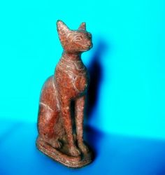 Vintage Hand Carved Porphyry Stone Bast Egyptian Statue Cat Bastet Sculpture | eBay