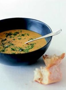 Pumpkin Soup #recipe from AIS // HINT: To increase the nutritional value, add 3/4 cup red lentils with the pumpkin. This also thickens the soup, so add more stock or water if necessary. This soup is best with a crusty Italian-style bread or a pull-apart loaf.
