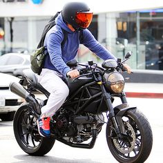 David Beckham hops on his motorcycle after his workout, just ride!