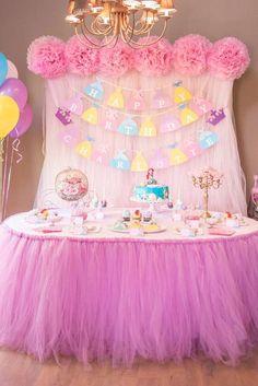 Dessert table at a Disney princess birthday party! See more party ideas at… Disney Princess Birthday Party, Princess Theme Party, Princess Birthday Party Decorations, Cinderella Party, Disney Themed Party, Disney Princess Decorations, Disney Parties, Princesse Party, 4th Birthday Parties