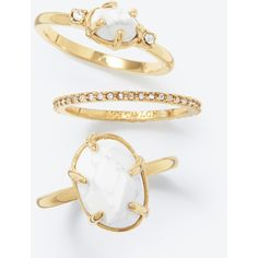 Ann Taylor Howlite Stackable Ring Set ($28) ❤ liked on Polyvore featuring jewelry, rings, gold, stackable rings, pave ring, ann taylor, stackable band rings and pave stackable rings